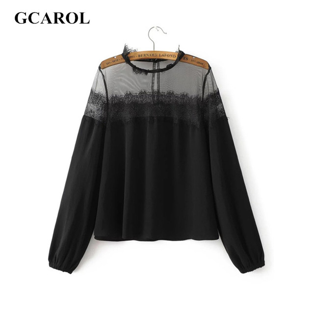 GCAROL 2017 Women Euro Style Lace Spliced Blouse Hollow Out Sexy Tops High Quality New Arrival Summer Spring Autumn Ladies