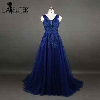 Real Photos Pleats Tulle Blue Evening Dresses Long 2017 Beaded Lace Applique Sexy Backless Prom Dress Formal Party Gowns