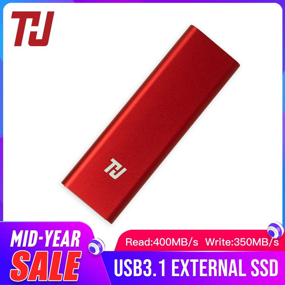QUI Mini Portátil SSD de 128GB 256GB 512GB 1 USB3.1 400 MB/s TB HD Externo Drive de Estado Sólido para Notebook Laptop PC (VERMELHO)