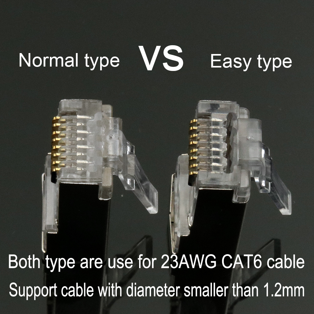 Image 5 - xintylink rj45 connector cat6 cat 6 plug 8p8c stp rj 45 male shielded gold plated network ethernet cable jack 1.2mm 50pcs 100pcs-in Computer Cables & Connectors from Computer & Office
