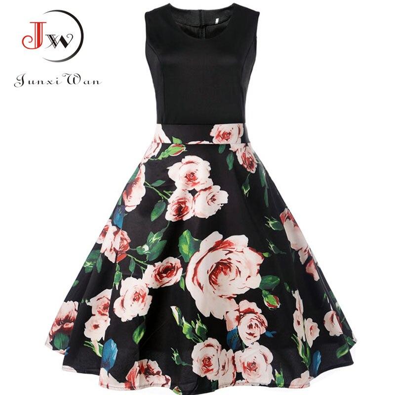 V Neck Sexy  Summer Dress Women Floral Print Patchwork Vintage Dress Hepburn 50s Elegant Party Dresses Plus Size Sundress 1