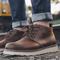 Maden Crazy Horse Leather Men Boots Cow Leather Black Brown Beeswax England All-matching Casual Shoes Anti-slip Wearable Vintage