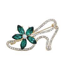 Mode Frauen Strass Grüne Blume High Heel Schuh Brosche Pins, Exquisite Frauen Hochzeit und Partei Brosche, brautstifte, freies schiff