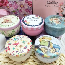 10 Style Mini Drum Organizer Tinplate Storage Box Wedding  Ferrero Candy Jewelry Cases Fower Pattern 1 PC Round Tea