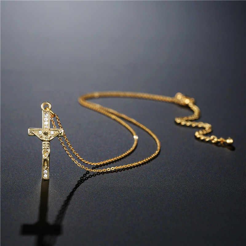 NEWBUY klasyczny wisiorek z ukrzyżowanym jezusem naszyjnik dla kobiet mężczyzn wysokiej jakości złoty łańcuszek naszyjnik wyczyść cyrkonia Bijoux Dropship