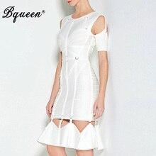 Bqueen 2017 белый выдалбливают заклепки Регулярный Короткий рукав Миди рыбий хвост Бандажное платье Для женщин мода элегантное платье Лето