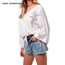 XUANCHURANWEN Ladies Tops White Embroidery Blouse Long Sleeve Cotton Women Plus Size Loose Shirts Blusas YZ8282