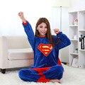 DC Super Hero Супермен Взрослых Лени Пижамы Плюс Размер Onesie Плюшевые Kigurumi Пижамы Цельный Мужская Sleepcoat Косплей комбинезон