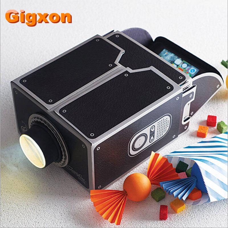 Gigxon - Hot Selling GY1 Home Mini LED Full HD 1080p Projector Cardboard Movie Video DIY Projector Smartphone Projector  цены