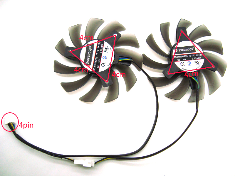 TWO PCS Firstd FD7010H12S 75MM Cooler Fan For ASUS MSI Radeon Sapphire 6930 7850 GTX 550 750 770 Ti HD 7870 Video Card Cooling
