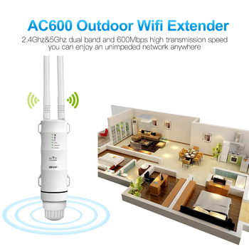 Outdoor WiFi Repeater AC600 Router Wi-Fi Extender WIPS Wi Fi Access Point Amplifier Weatherproof 2.4G+5GHz High Power Booster