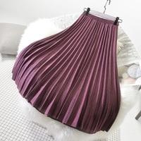 Sherhure 2019, зимние женские шерстяные юбки, высокая талия, а-силуэт, длинная Плиссированная юбка, высокое качество, женская юбка, Faldas Jupe Femme Saia