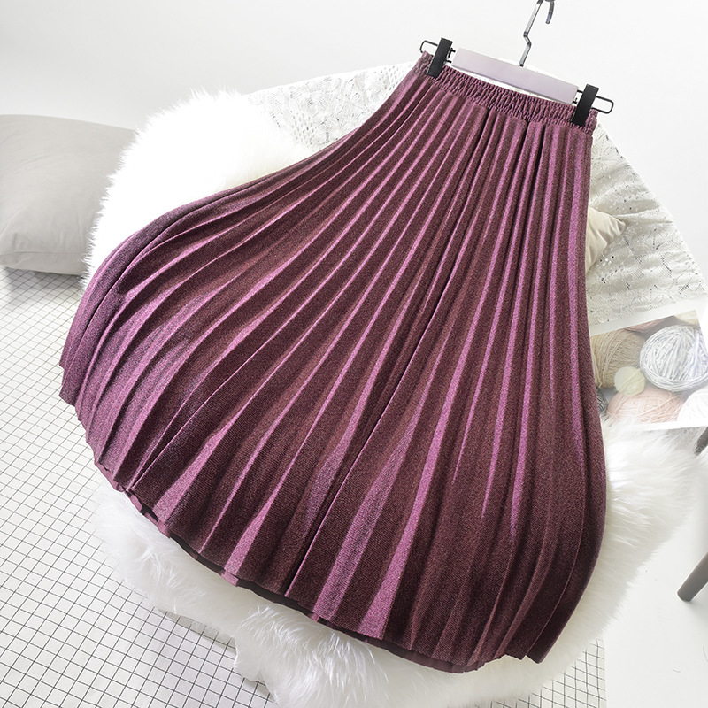 Sherhure 2019 Winter Women Woolen Skirts High Waist A-Line Long Pleated Skirt High Quality Women Skirt Faldas Jupe Femme Saia