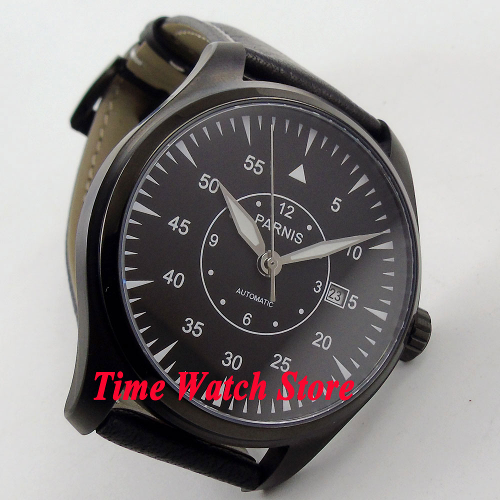 Parnis 44mm black dial white marks luminous sapphire glass PVD case MIYOTA Automatic Mens watch wristwatch 663Parnis 44mm black dial white marks luminous sapphire glass PVD case MIYOTA Automatic Mens watch wristwatch 663
