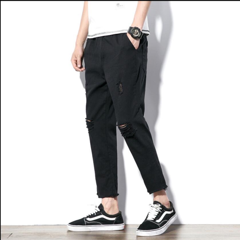 M-5XL Summer New hole pants mens casual feet pants jeans loose hairstylist nightclub tide black Harem pants plus size costumes