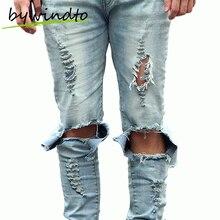 Yeezy man джинсы мужчины байкер мужчины джинсы hommes разорвал тощий бренд одежды
