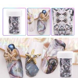 Image 3 - 3D 1 rouleau 4*120CM océan Style coquille Abalone motif ongles feuilles dégradé marbre conception feuilles Nail Art transfert thermique feuille