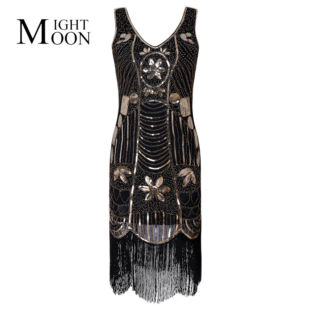 MOONIGHT Black Gatsby Dress Women 2019 Tassels Vintage Dress With Sequins Beading Glitter Evening Party Dress Vestido