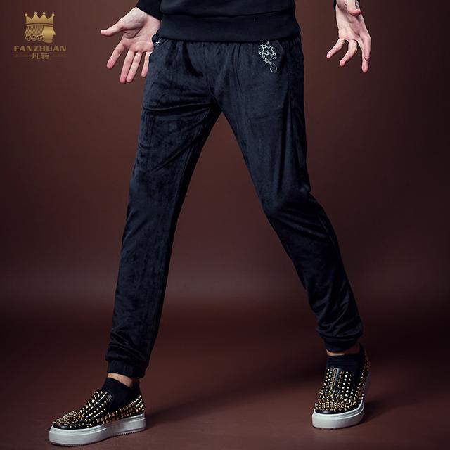 Envío Gratis Nuevas adquisiciones 2016 los hombres de moda Masculina ocasional otoño pantalones de Haren de Estiramiento delgados pantalones de Ante Negro 8067 en venta