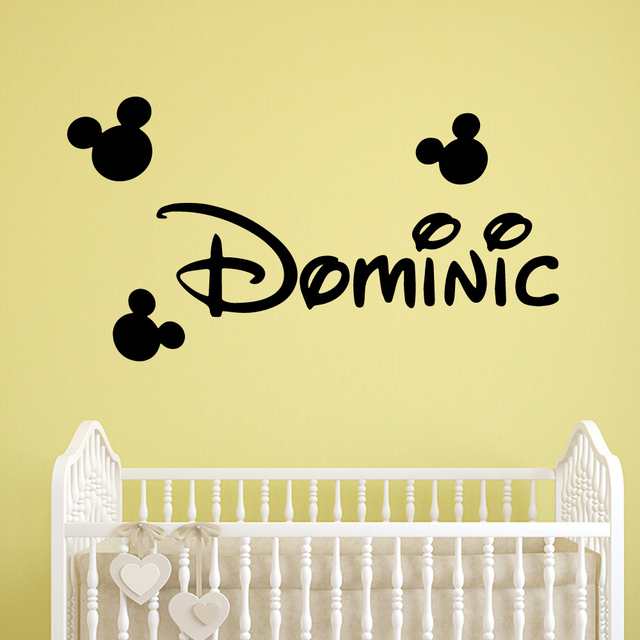 Cartoon Name Nursery Wall Stickers Vinyl Art Decals Room Decor Wallpaper