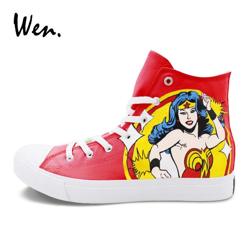 Wen High Top Skateboarding Shoes Men Women Hand Painted Shoes Flat Design Wonder Woman Sneakers Canvas High Top стоимость
