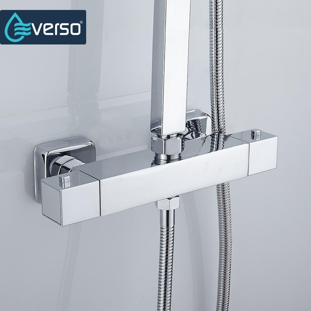 EVERSO Thermostatic Mixing Valve Bathroom Shower Set Thermostatic Control Shower Faucet Shower Mixer thermostatic mixing valve