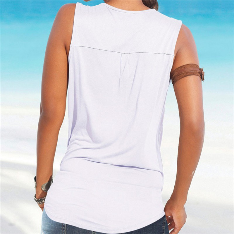 fc70180987 New Summer Fashion Women vest tops deep v neck sleeveless sexy ladies tops  Camisole white Patch shirts solid Chiffon blouse -in Tank Tops from Women's  ...