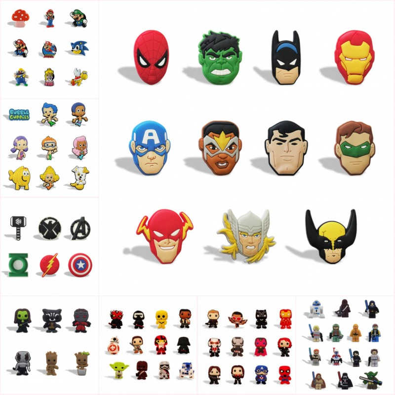 100pcs Cartoon Figures Superhero Avenger Mario Groot PVC Magnetic Stickers Office School Supply Fridge Magnets Kids Gift