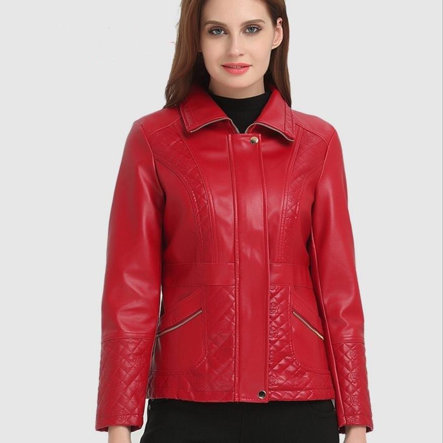 6XL 5XL 4XL PLUS SIZE 2018 Winter Womens PU leather jacket fashion brand thicker Warm leather pu motorcycle JACKET Wj1158