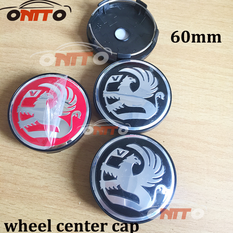 Hot selling 100pcs 60mm black red Vauxhall logo Car emblem Wheel Center Hub Cap Rim Badge cover styling