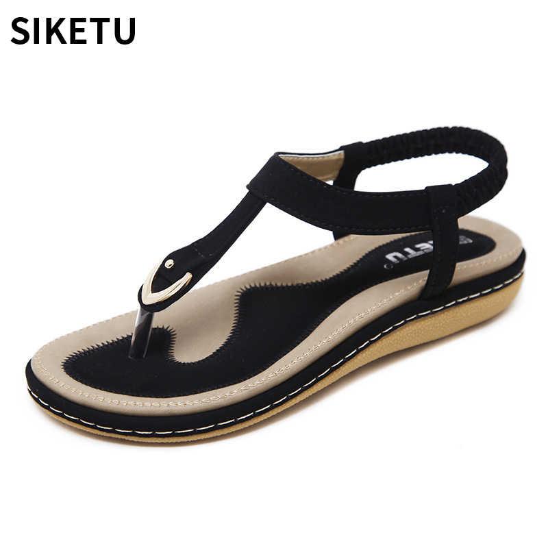 SIKETU Summer Fashion Shoes Women Bohemia Ethnic Flip Flops Soft Flat  Sandals Woman Casual Comfortable Plus 3fa41859e0be