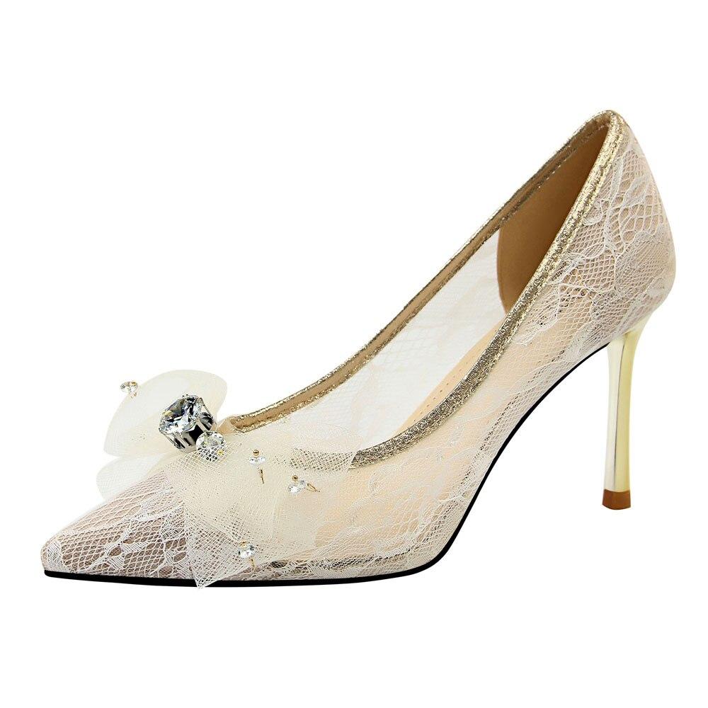 BUCKSHA 8.5 centimetri scarpe Tacco Alto per Le Donne Del Merletto Mash A Spillo Punta A Punta di Prua Pompe di Cristallo Delle Signore Bianco di Alta scarpe Col Tacco Alto scarpe Da donna - 2