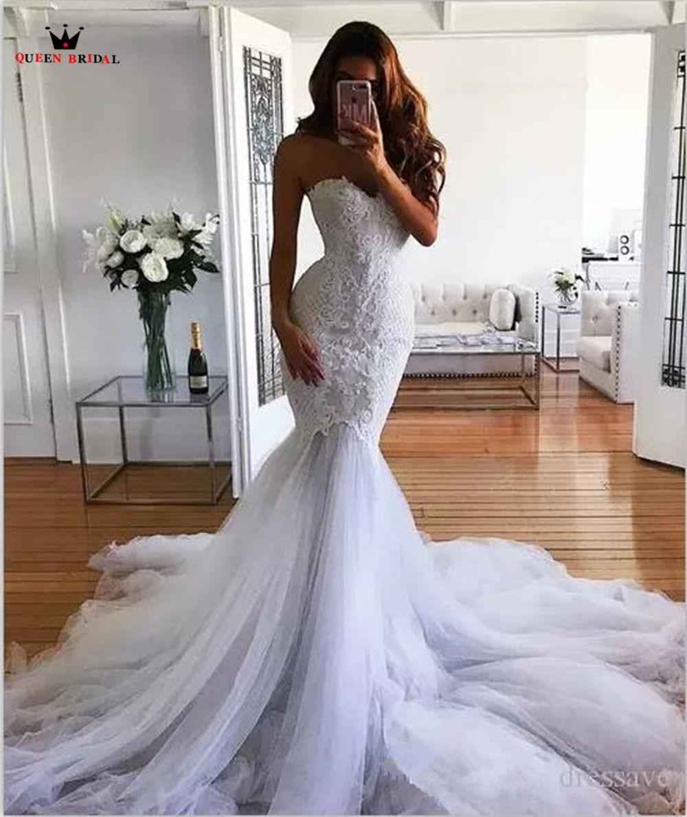 Mermaid Sweetheart Big Train Lace Beaded Flowers Vintage Sexy Wedding Dresses 2018 New Fashion Wedding Gowns Custom Made YB30
