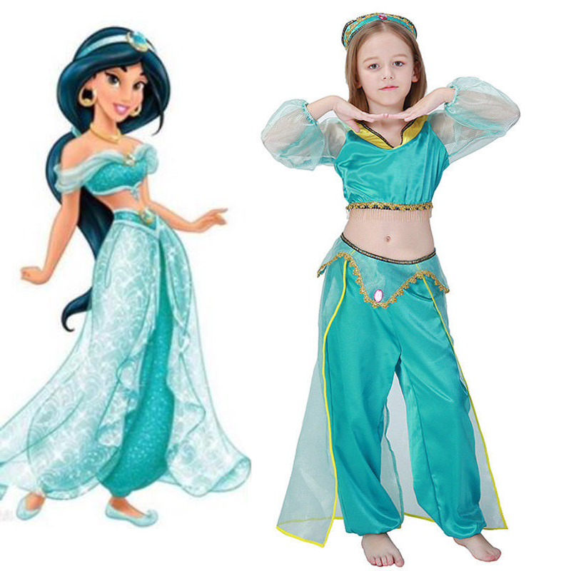 girl Aladdin and the magic lamp Jasmine Princess Costumes Cosplay For Children Halloween Party Belly Dance Dress Indian Costume