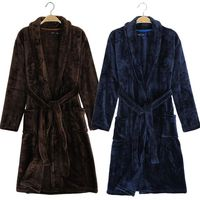 2016 New Arrival Men Terry Bathrobe Winter Soft Avaliable Bath Robe High Quality Flannel Warm Navy