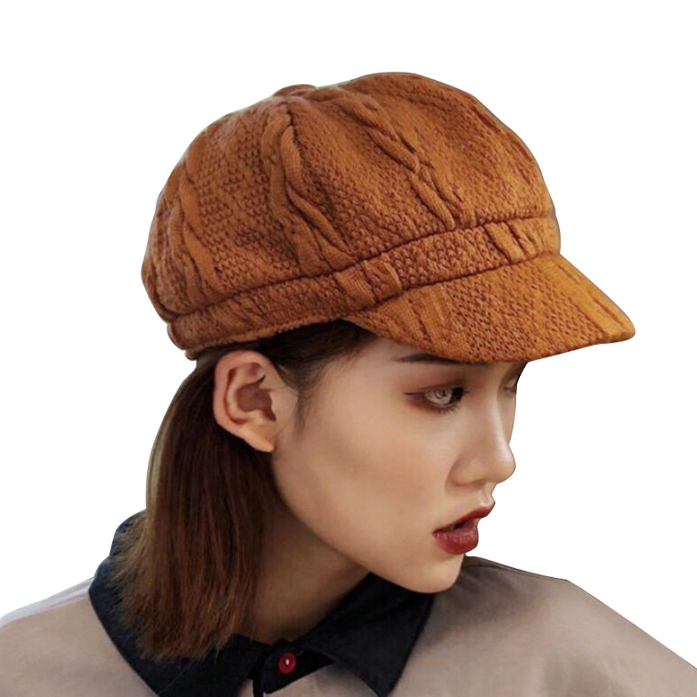 d734215ce47ae Women s hats autumn winter warm cap knit hat visor duck tongue cap solid  color octagonal cap