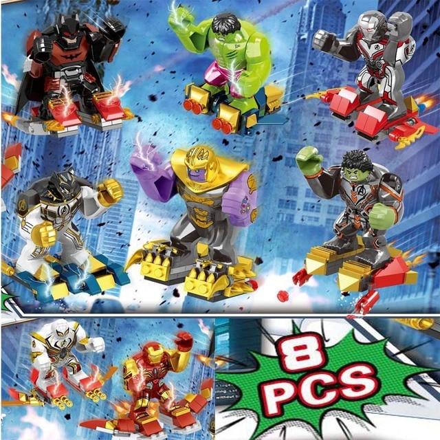 8 Pcs Endgame Super Heróis Vingadores Thanos Maravilha DC Homem De Ferro Hulk Spiderman Figuras Building Blocks Brinquedos Para as crianças Presentes
