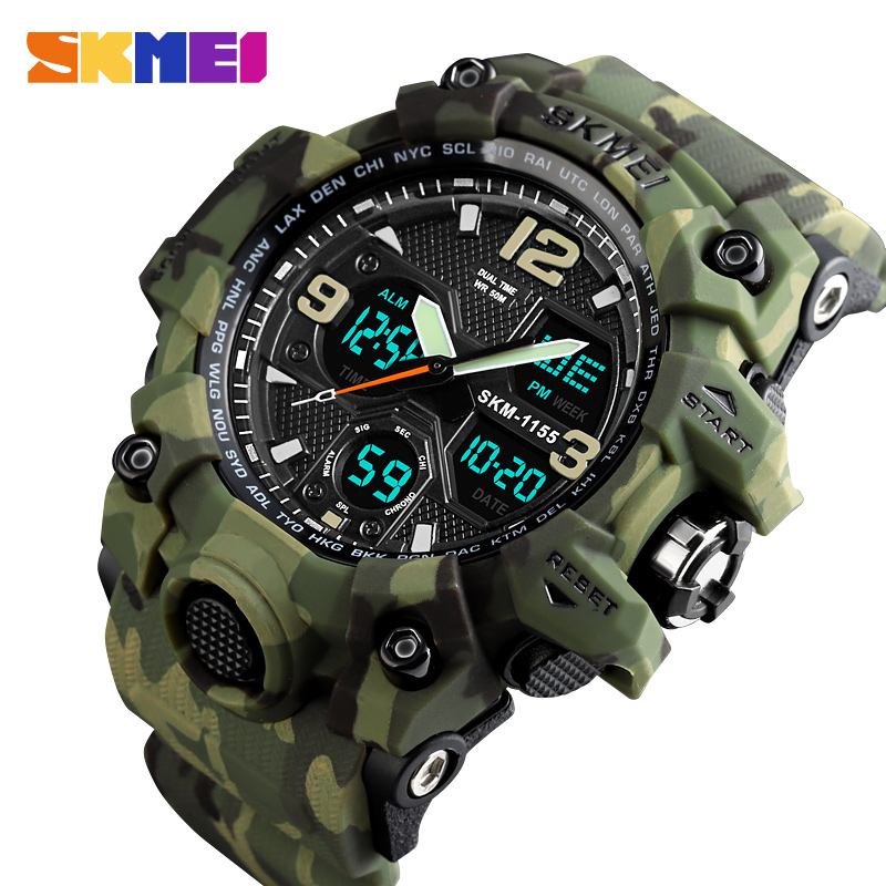 Saatler'ten Kuvars Saatler'de SKMEI üst marka lüks spor İzle erkekler moda açık LED dijital erkek kol saatleri su geçirmez askeri saat montre homme title=