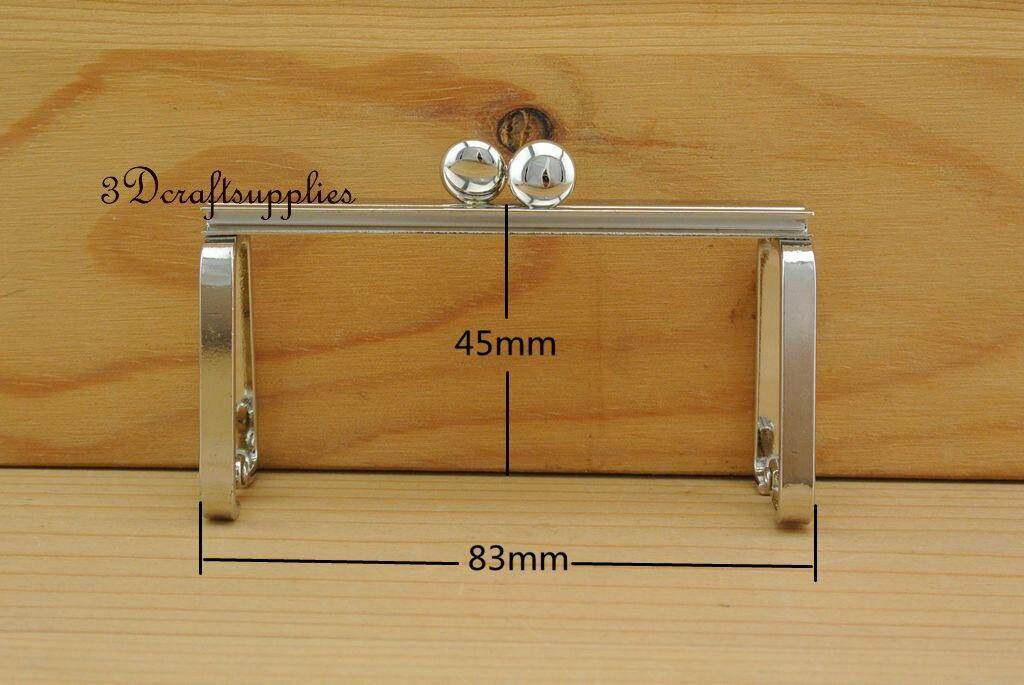 bag frame sewing purse frame metal frame silver 3 1/4 inch x 1 1/2 inch D78