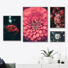 Zinnia Rose Flower Fresh Big Leaf Forest Wall Art Canvas Painting Nordic Posters And Prints Pictures For Living Room Decor