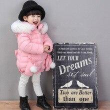 Зимнее пальто куртка малышей девушки мода пальто детские толстые хлопка с длинным рукавом мех дети теплая куртка дети с капюшоном Верхняя Одежда W70