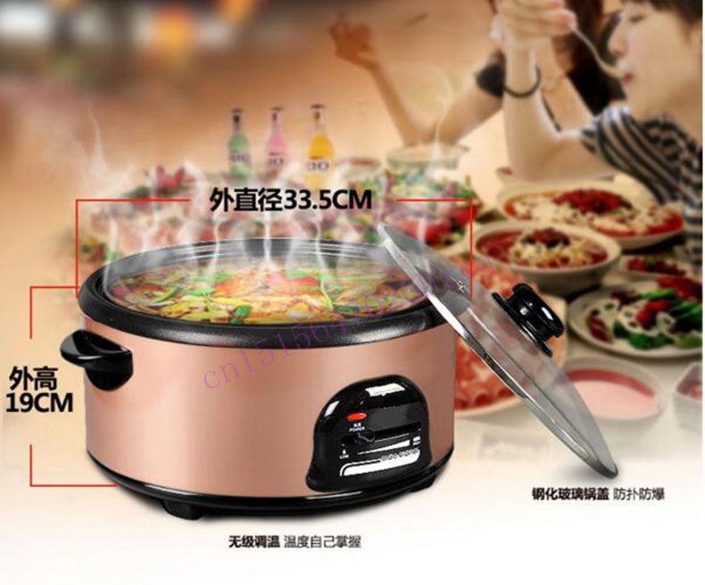 CUKYI household electric nonstick skillet 3 -4 people small cooker Korean multi-purpose Electric boiler 2.8L Electric Hot pot cukyi household 3 0l electric multifunctional cooker microcomputer stew soup timing ceramic porridge pot 500w black