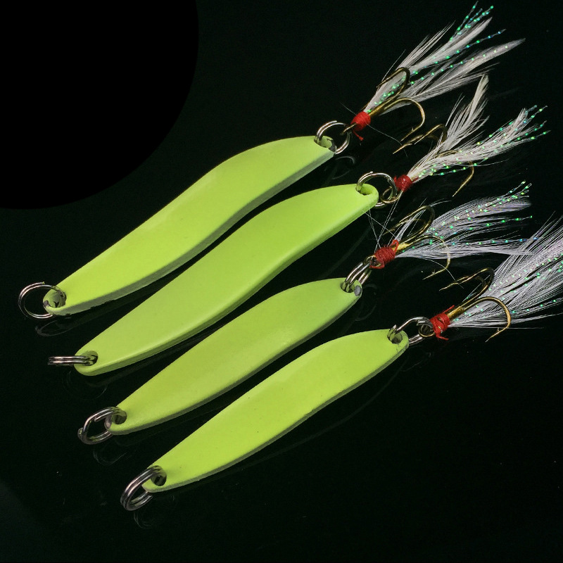 1pcs Metal Spinner Spoon Fishing Lure 5g 7g 10g 13g Luminous Hard Bait with Feather Bass Sea Lures Wobbles Fishing Tackle WW1048 5pcs lot 7g 100g metal lure fishing spoon freshwater fishing hard lure slice jig pesca bait fishing tackle metal jigging lures