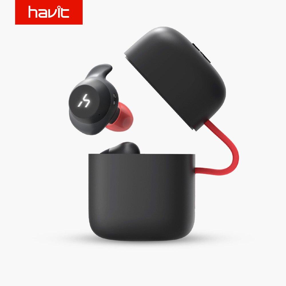 HAVIT TWS Verdadeiro Esporte Sem Fio Bluetooth Fone de Ouvido Fone de Ouvido À Prova D' Água G1 3D Fones de Ouvido Estéreo Com Microfone para Chamadas Mãos Livres