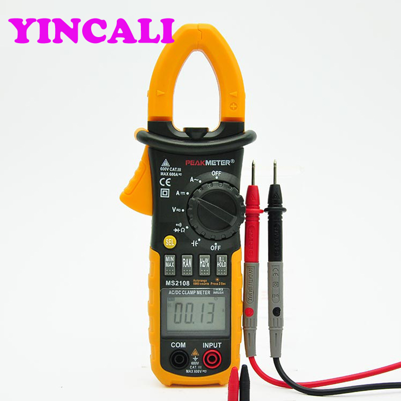 Multifunctional AC DC Mini Digital Clamp Meter <font><b>PM2108</b></font> Multimeter Capacity Frequency Voltage Current Transistor Clamp Tester image