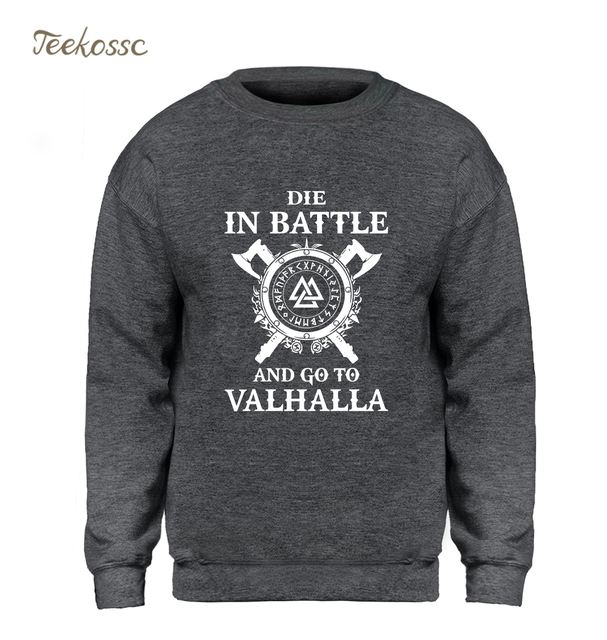 Odin Vikings Sweatshirt Men Die In Battle And Go To Valhalla Hoodie Crewneck Sweatshirts 2018 Winter Autumn Hip Hop Streetwear 2
