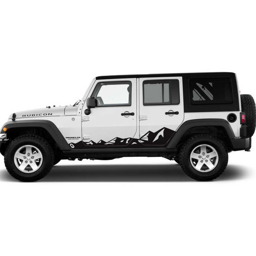 Aksesoris mobil stiker 2 pc sisi pintu pegunungan gaya grafis vinil stiker mobil untuk jeep wrangler