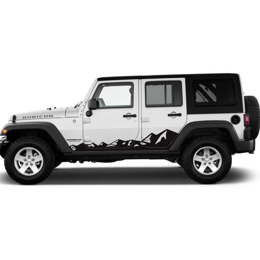 For Jeep Wrangler Rubicon Or Sahara 4 Doors Accessories Decals 2pc Side Door Mountains Styling Graphic