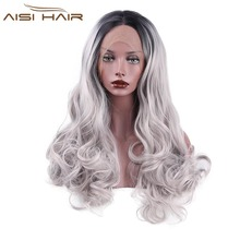 I s a wig Lace Front Ombre Wigs for Black Women Long Wavy Grey Synthetic Heat
