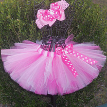 Lovely Girl's Tutu Skirts Infant Baby 100% Layers Handmade Fluffy Ballet Tutus Tulle Pettiskirts with Dots Ribbon Bow Kids Cloth